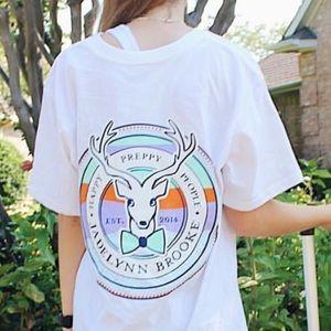 White and Navy Jadelynn Brooke Logo V-Neck T-shirt